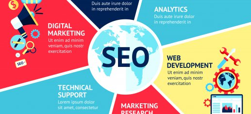 Seo infographic set with strategy analytics technical support web development symbols vector illustration